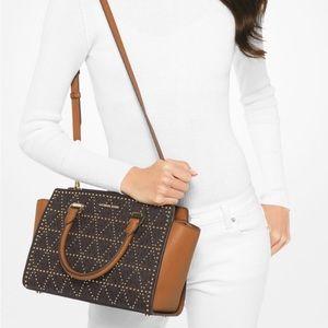 Michael Kors | Studded Selma Saffiano Satchel Bag